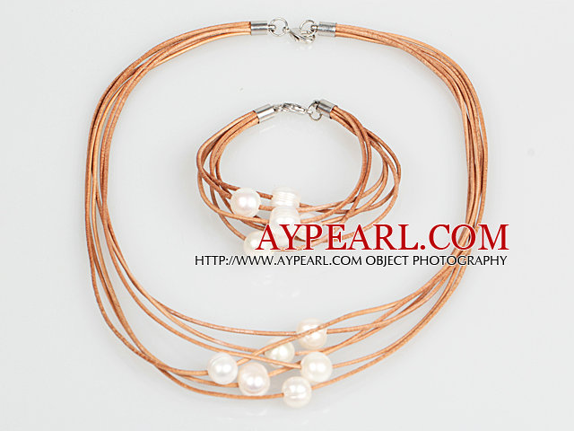 10-11mm White Round Freshwater Pearl and Brown Leather Necklace Bracelet Set
