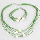 10-11mm White Freshwater Pearl and Green Leather Necklace Bracelet Set