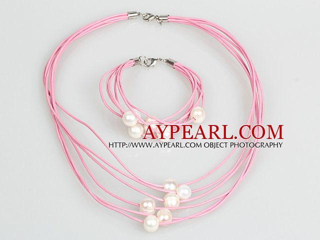 10-11mm White Freshwater Pearl and Pink Leather Necklace Bracelet Set
