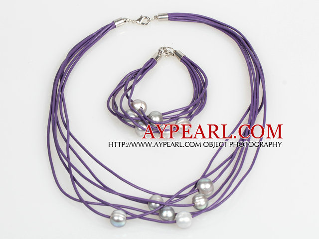 10-11mm Gray Freshwater Pearl and Purple Leather Necklace Bracelet Set