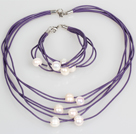10-11mm White Freshwater Pearl and Purple Leather Necklace Bracelet Set