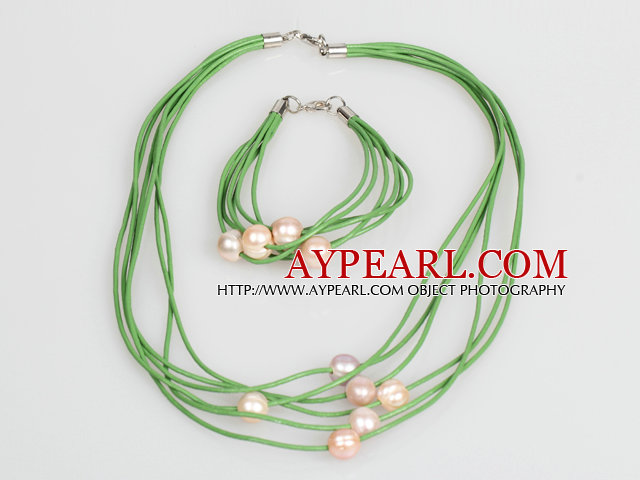 10-11mm Pink Purple Freshwater Pearl and Green Leather Necklace Bracelet Set