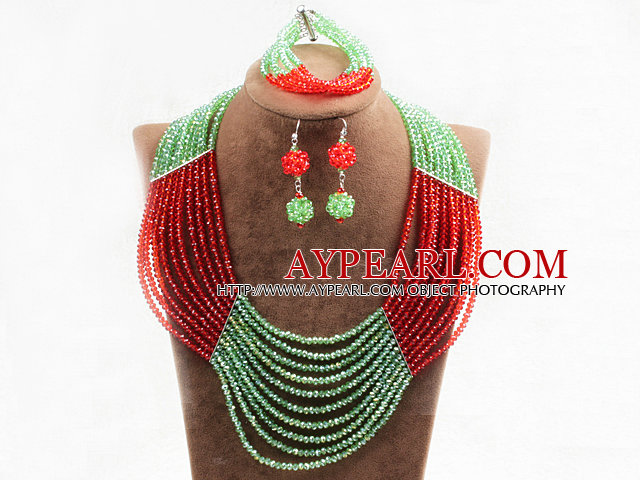 Charming 10 Layers Bright Red Green Crystal Beads Costume African Wedding Jewelry Set (Necklace With Mathced Bracelet And Earrings)