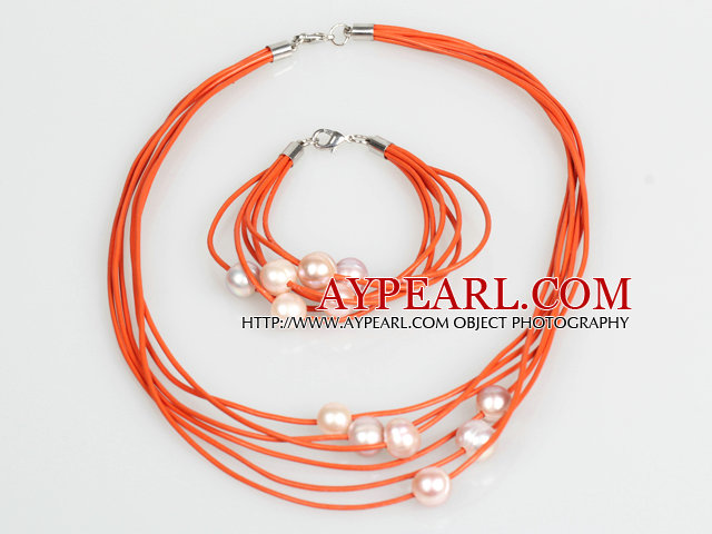 10-11mm Purple Freshwater Pearl and Orange Leather Necklace Bracelet Set