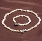 Fashion 6-7mm Natural White Freshwater Pearl Heart Pendant Jewelry Set(Necklace With Matched Bracelet)