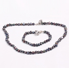 Fashion 6-7mm Natural Black Freshwater Pearl Heart Pendant Jewelry Set(Necklace With Matched Bracelet)