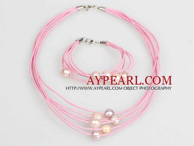 10-11mm Pink Purple Freshwater Pearl and Pink Leather Necklace Bracelet Set