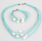 10-11mm White Freshwater Pearl and Blue Leather Necklace Bracelet Set