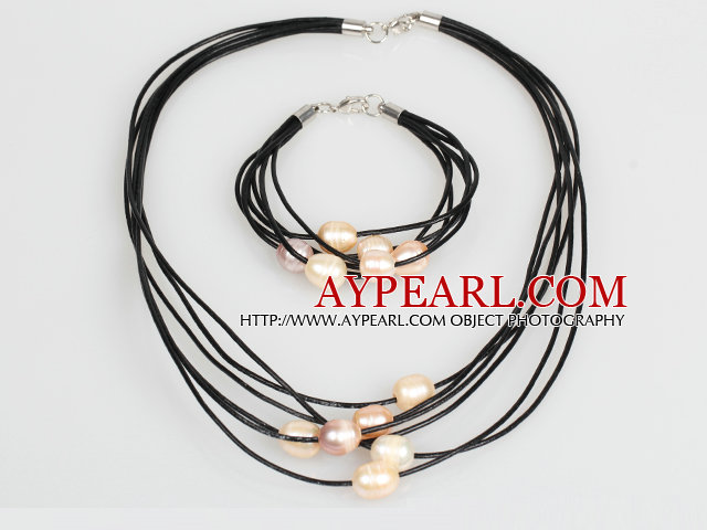 10-11mm Pink Freshwater Pearl and Pink Leather Necklace Bracelet Set