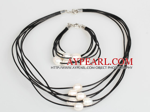 10-11mm White Freshwater Pearl and Black Leather Necklace Bracelet Set