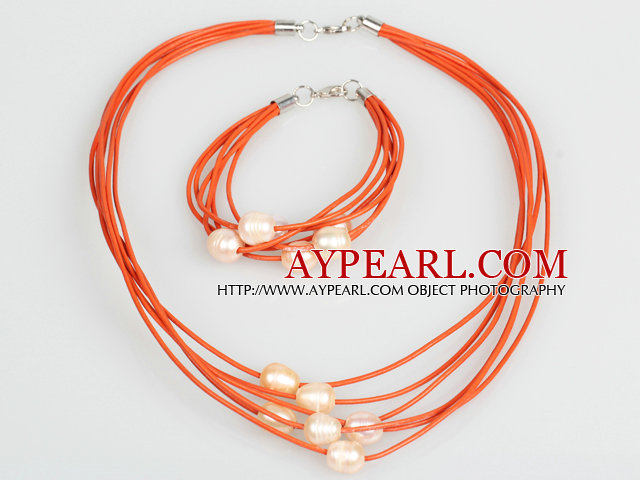 10-11mm Pink Freshwater Pearl and Orange Leather Necklace Bracelet Set