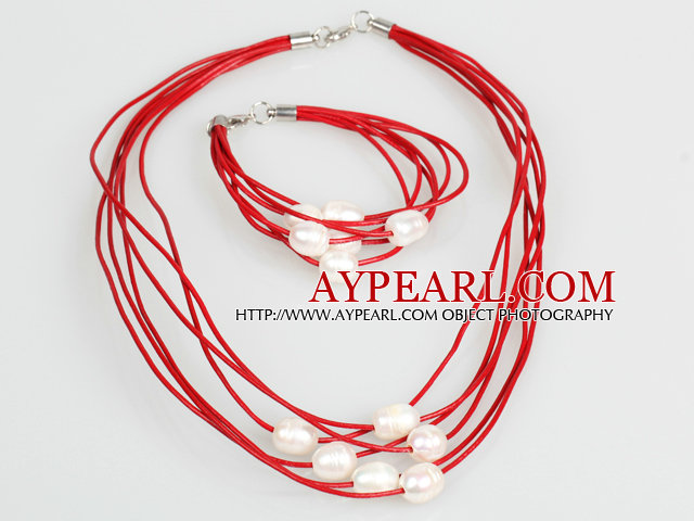 10-11mm White Freshwater Pearl and Red Leather Necklace Bracelet Set