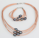 10-11mm Black Freshwater Pearl and Brown Leather Necklace Bracelet Set