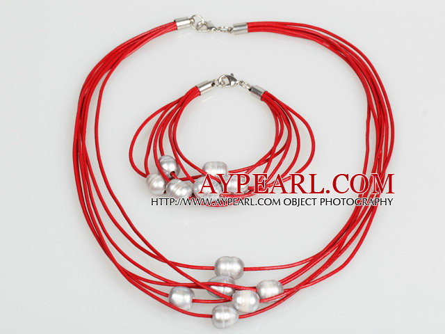 10-11mm Gray Freshwater Pearl and Red Leather Necklace Bracelet Set