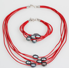 10-11mm Black Freshwater Pearl and Red Leather Necklace Bracelet Set