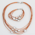 10-11mm Gray Freshwater Pearl and Brown Leather Necklace Bracelet Set