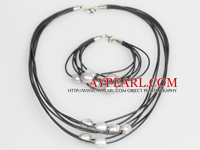 10-11mm Gray Freshwater Pearl and Black Leather Necklace Bracelet Set