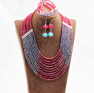Amazing Statement 10 Layers Red Blue Jade-Like Crystal African Wedding Jewelry Set (Necklace With Mathced Bracelet And Earrings)