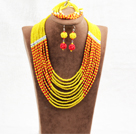 Amazing Statement 10 Layers Red Yellow Jade-Like Crystal African Wedding Jewelry Set (Necklace With Mathced Bracelet And Earrings)
