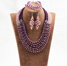 Wholesale Splendid 6 Layers Purple Pink Crystal Beads African Wedding Jewelry Set (Necklace With Mathced Bracelet And Earrings)