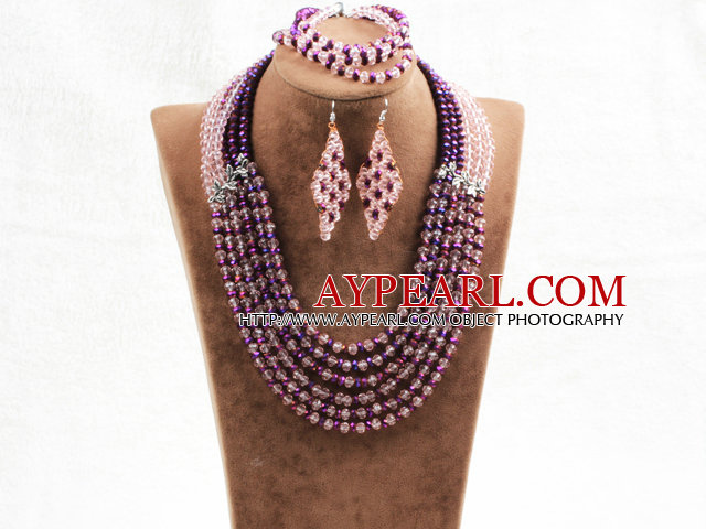 Splendid 6 Layers Purple Pink Crystal Beads African Wedding Jewelry Set (Necklace With Mathced Bracelet And Earrings)