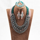 Splendid 6 Layers Pink Green Crystal Beads African Wedding Jewelry Set (Necklace With Mathced Bracelet And Earrings)