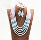 Wholesale Marvelous 5 Layers Cute Pink Blue Crystal Beads African Wedding Jewelry Set (Necklace With Mathced Bracelet And Earrings)