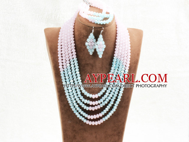 Marvelous 5 Layers Cute Pink Blue Crystal Beads African Wedding Jewelry Set (Necklace With Mathced Bracelet And Earrings)