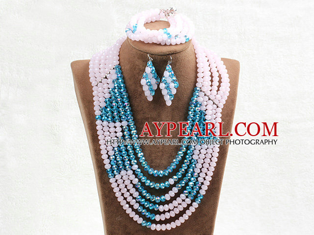 Fabulous 6 Layers Pink & Blue Crystal Beads Costume African Wedding Jewelry Set (Necklace With Mathced Bracelet And Earrings)