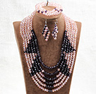 Wholesale Fabulous 6 Layers Pink & Purple Crystal Beads Costume African Wedding Jewelry Set (Necklace With Mathced Bracelet And Earrings)