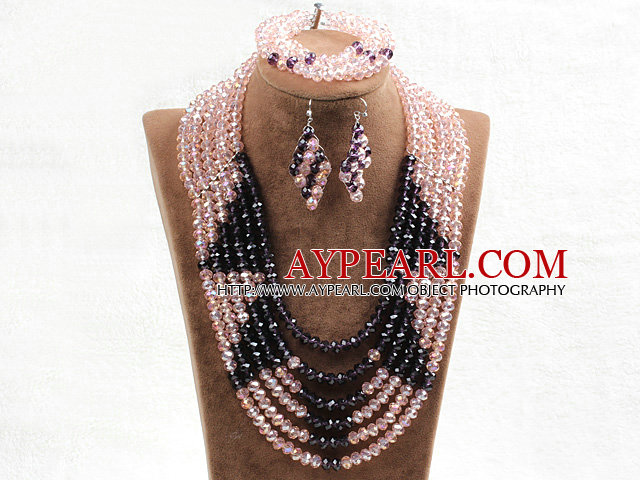 Fabulous 6 Layers Pink & Purple Crystal Beads Costume African Wedding Jewelry Set (Necklace With Mathced Bracelet And Earrings)