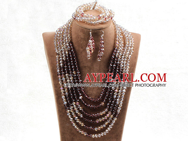 Fabulous 6 Layers Light Brown & Purple Crystal Beads Costume African Wedding Jewelry Set (Necklace With Mathced Bracelet And Earrings)