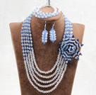 Captivating 5 Layers White & Blue Crystal Beads Flower Charm Costume African Wedding Jewelry Set (Flower Can Be Removed as Brooch)