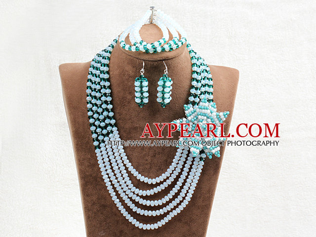 Captivating 5 Layers Opal & Green Crystal Beads Flower Charm Costume African Wedding Jewelry Set (Flower Can Be Removed as Brooch)