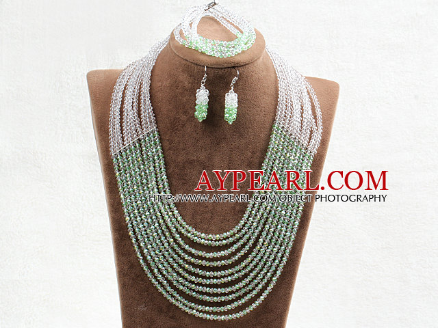 Fabulous 10 Layers Green & White Crystal Costume African Wedding Jewelry Set (Necklace,Bracelet & Earrings)