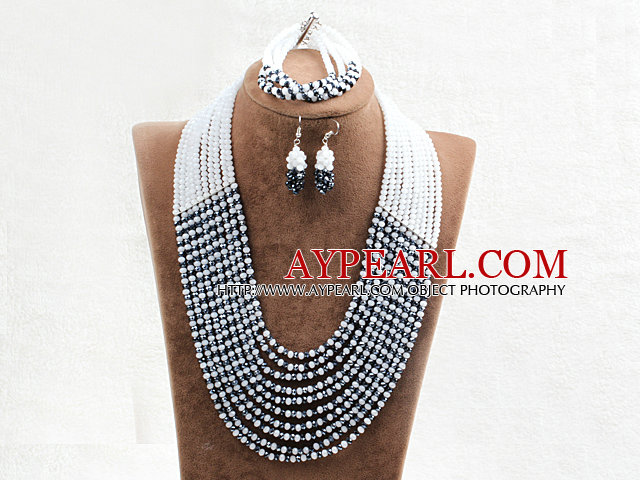 Fabulous 10 Layers Rose Black & White Crystal Costume African Wedding Jewelry Set (Necklace,Bracelet & Earrings)