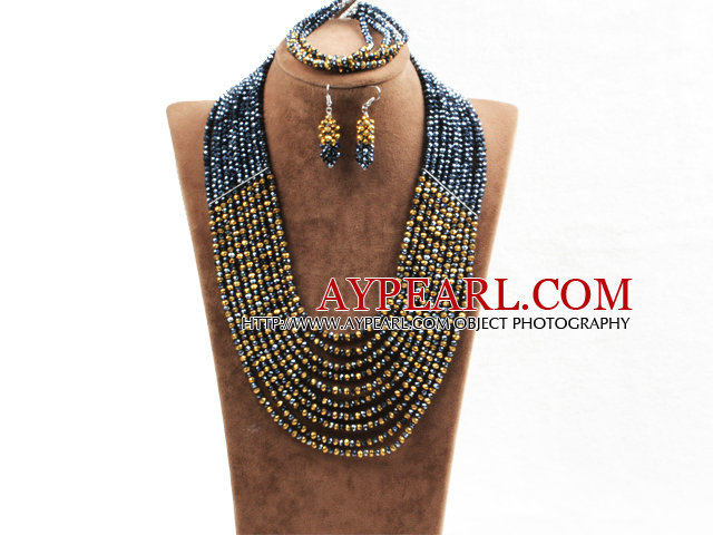 Fabulous 10 Layers Black & Brown Costume African Wedding Jewelry Set (Necklace,Bracelet & Earrings)