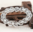 Wholesale 12mm Natural Clear Crystal Twist Beaded Elastic Bangle Bracelet