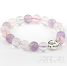 Wholesale Natural Faceted Multi Color Crystal Beaded Elastic Bangle Bracelet with Sterling Silver Bead Accessory