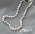 8-9mm A Grade Natural White Ferskvann Pearl Beaded halskjede med Sterling Silver Clasp