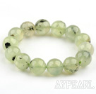 14mm Round Natural Prehnite Stretch Beaded Bangle Bracelet