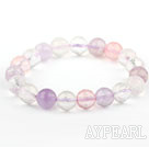 10mm Pink Series Natural Faceted Multi Color Crystal Beaded Elastic Bangle Bracelet