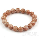 10mm Faceted Round Sun Stone Beaded Stretch Bangle Bracelet