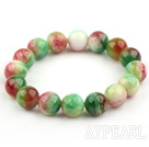 12mm Round Watermelon Jade Beaded Stretch Bangle Bracelet