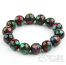 14mm Round Mosaics Turquoise Beaded Stretch Bangle Bracelet