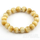 10mm Round A Grade Golden Tiger Eye Beaded Stretch Bangle Bracelet