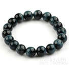 10mm Round A Grade Blue Tiger Eye Beaded Stretch Bangle Bracelet