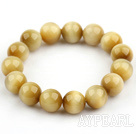 12mm Round A Grade Golden Tiger Eye Beaded Stretch Bangle Bracelet
