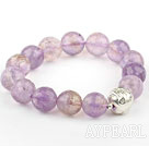 Wholesale 12mm Natural Round Faceted Ametrine Beaded Elastic Bangle Bracelet with Sterling Silver Pixiu Accessory