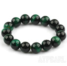 12mm Round A Grade Dark Green Tiger Eye Beaded Stretch Bangle Bracelet